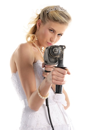 offended bride with drill photo