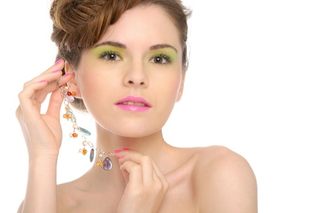 Woman with jewelry from natural stones