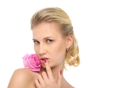 Beautiful blonde with pink rose Stock Photo - 9574244