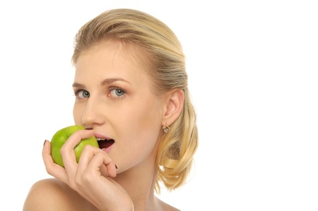 pleasantness: beautiful woman with apple Stock Photo