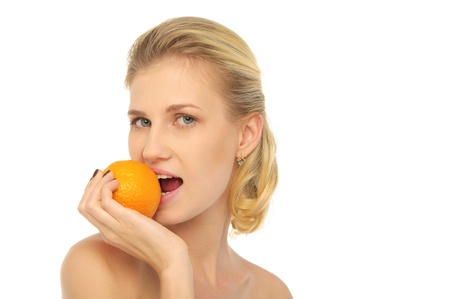 pleasantness: beautiful woman with oranges