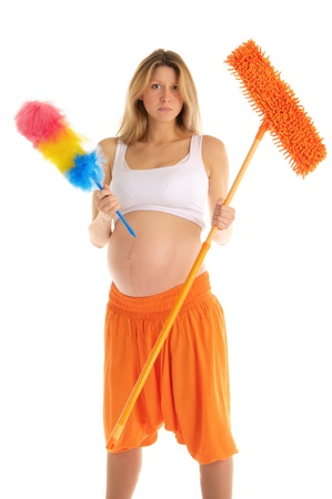 pregnant woman with a mop photo
