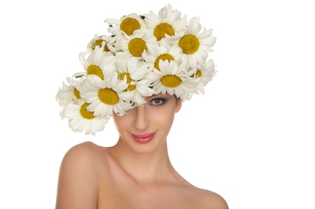 beautiful woman in the hat of daisies photo