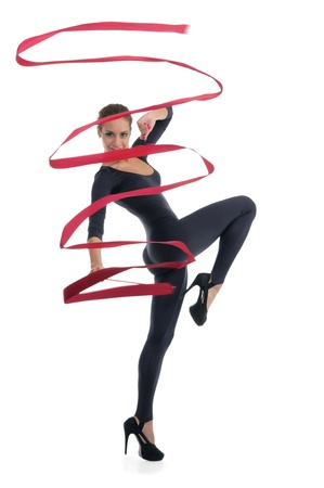 pleasantness: dancing woman with red ribbon