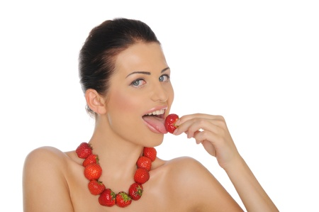 Beautiful woman with jewelry from a strawberry Stock Photo - 10018460