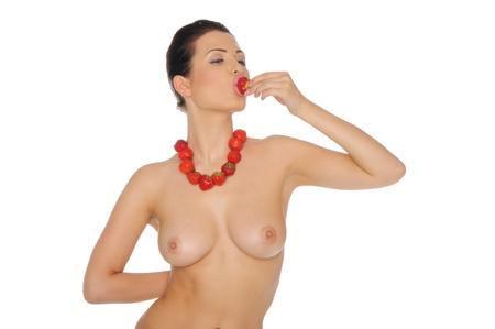 Sexy nude woman with strawberry jewelry photo
