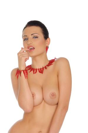 femme nu sexy: Femme sexy nue avec poivrons rouges
