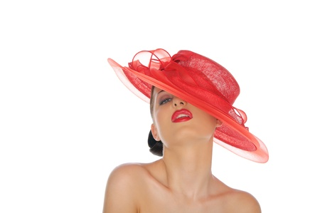 beautiful woman with red hat photo