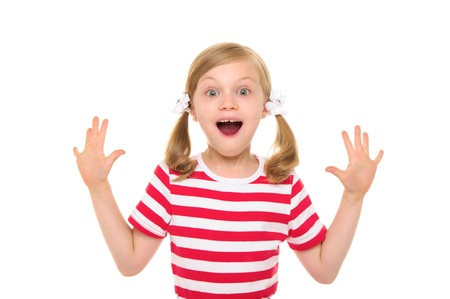 Happy girl with hands up Stock Photo