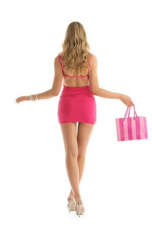 beautiful woman with rosy shopping bags Stock Photo - 10261764