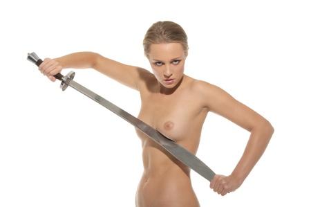 Sexy nude Woman mit Schwert Lizenzfreie Bilder - 10415488