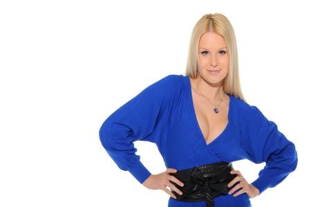 beautiful woman in blue dress Stock Photo - 11065262
