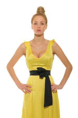 beautiful woman in yellow dress Stock Photo - 11065261