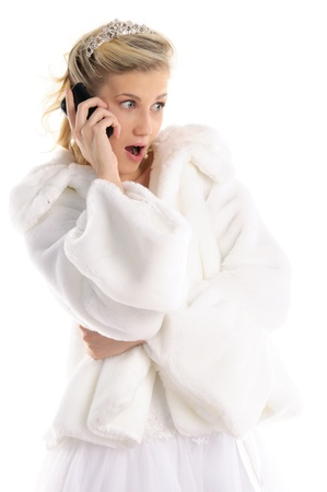 surprised bride with telephone Stock Photo - 11065281