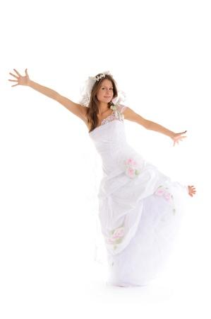 pleasantness: happy bride in wedding dress Stock Photo
