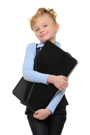 smiling girl with laptop photo