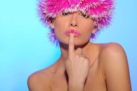 sexy beautiful woman in pink hat Stock Photo - 11171177