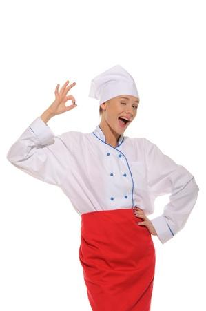 endorsement: happy beautiful woman cook