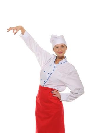 denote: happy woman chef picks up