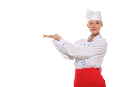 woman chef with an outstretched two hands photo