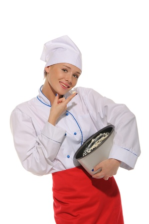 pleasantness: happy woman cook trying to cooked food