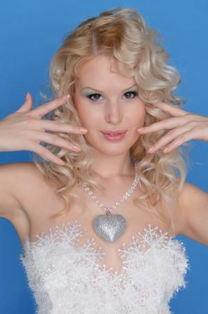 pleasantness: beautiful woman in dress of snowflakes