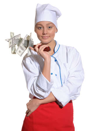 happy woman- chef with knife and money isolated on white Stock Photo - 12359811