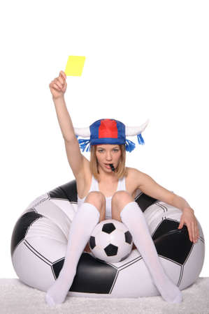 Football and soccer supporter showing yellow card photo