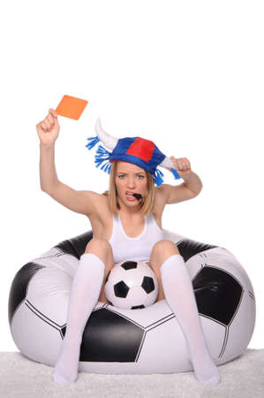 Football and soccer supporter showing red card Stock Photo - 12801875
