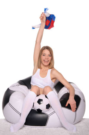 happy football and soccer fans in an armchair Stock Photo - 12801877