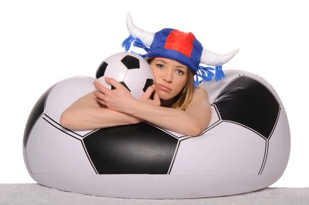 Distressed football cheerleader with  ball Stock Photo - 12999814