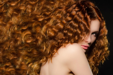 horizontal portrait of young woman with red hair Stock Photo - 12999920