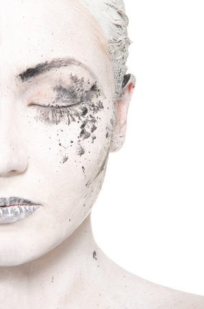 half and half: half the women in white face make-up