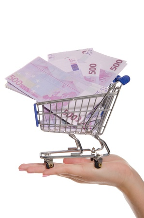 euro banknotes in shopping trolley on the palm photo