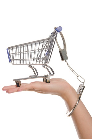 Shopping cart handcuffed to the arm Stock Photo - 13199077