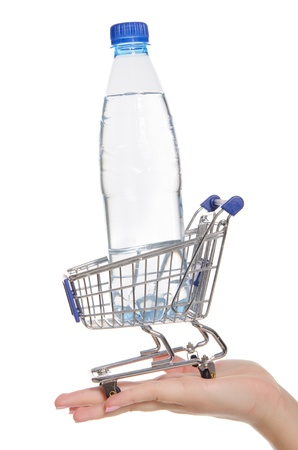 Bottle of water in shopping trolley on the palm
