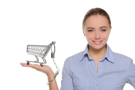 Shopping cart handcuffed to the women arm photo