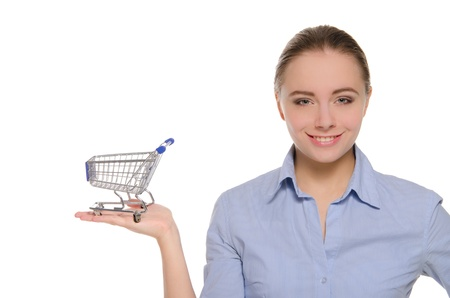 empty shopping carts on a female hand photo