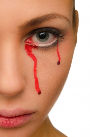 Blood flows from the eye of a beautiful woman close-up