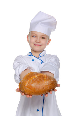 Smiling chef with a loaf of bread Isolated on white