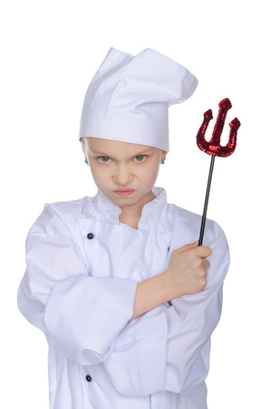 Evil chef with infernal pitchfork isolated on white photo
