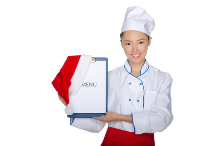 East chef with christmas menu isolated on white photo