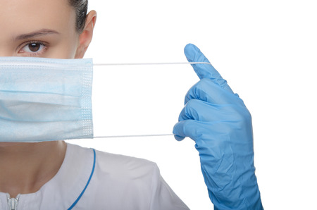 医者は白で隔離を彼の指を調達 写真素材