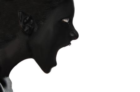 白い背景に黒の塗料で女性を叫んでください。