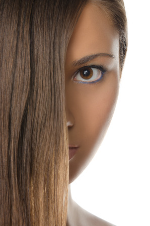 pleasantness: brunette woman with straight hair isolated in white