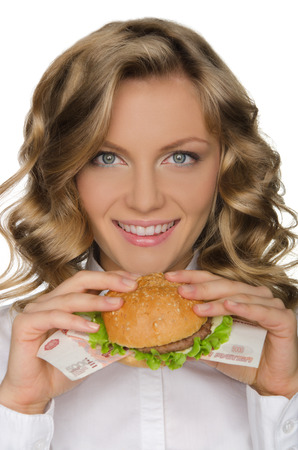 pleasantness: Young woman with hamburger from RUR isolated on white