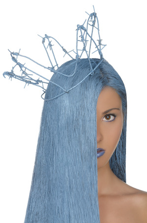 adult mermaid: vertical portrait of woman with long blue hair and crown isolated on white
