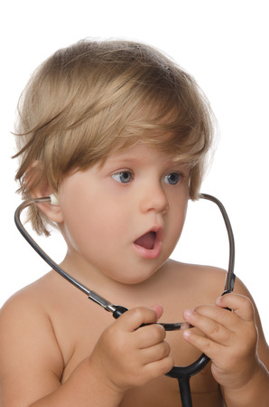 unexpectedness: Surprise child with stethoscope isolated on white.