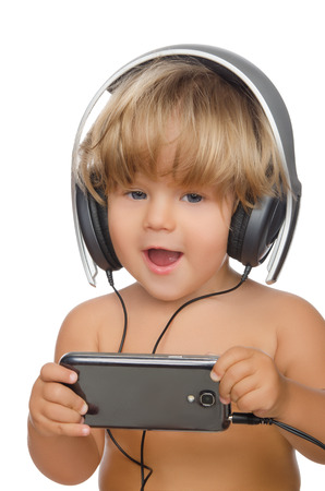 emote: Happy child with headphones and smartphone isolated on white
