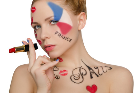 'one woman only': happy woman with face art on theme of Paris isolated on white